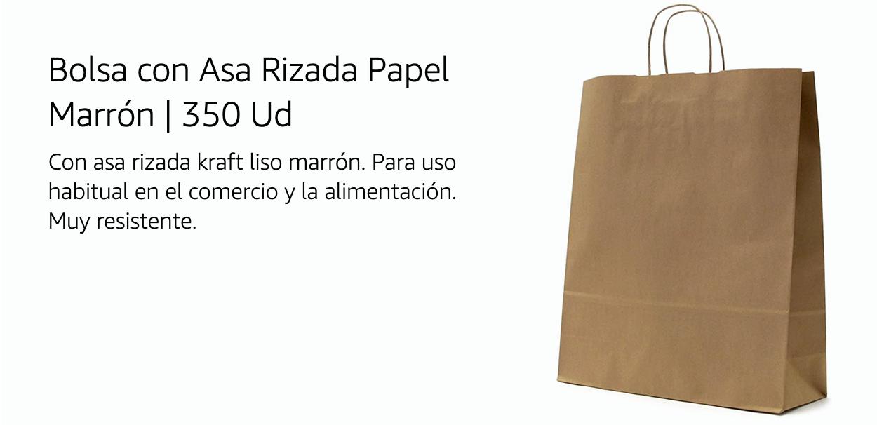 Bolsa con Asa Rizada papel Marrón 350 unidades 65,87€ (0,19€/Unidad)