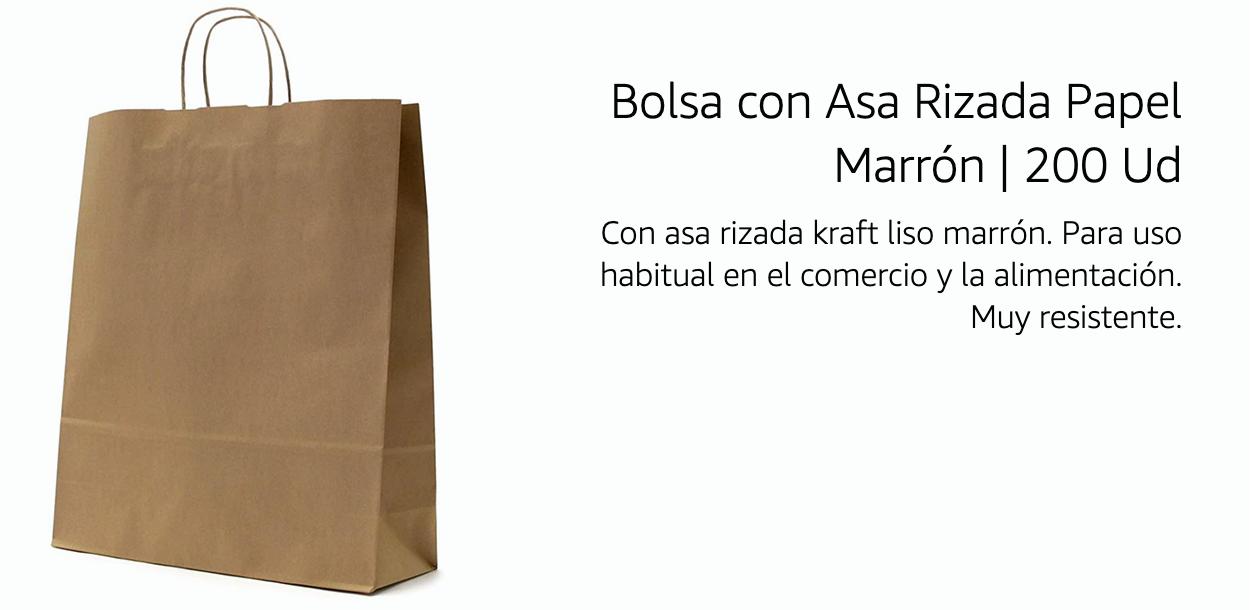 Bolsa con Asa Rizada papel Marrón 200 unidades 50,11€ (0,25€/Unidad)