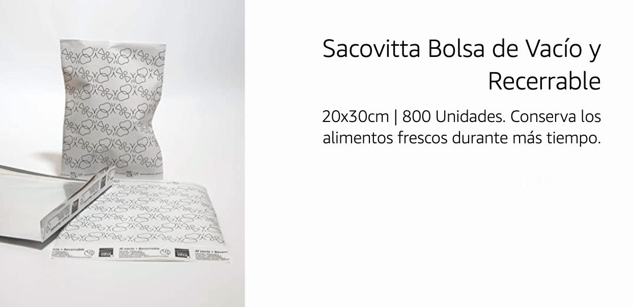 Sacovitta Bolsa de vacío y Recerrable 800 unidades 88,47€ (0,11€/Unidad)